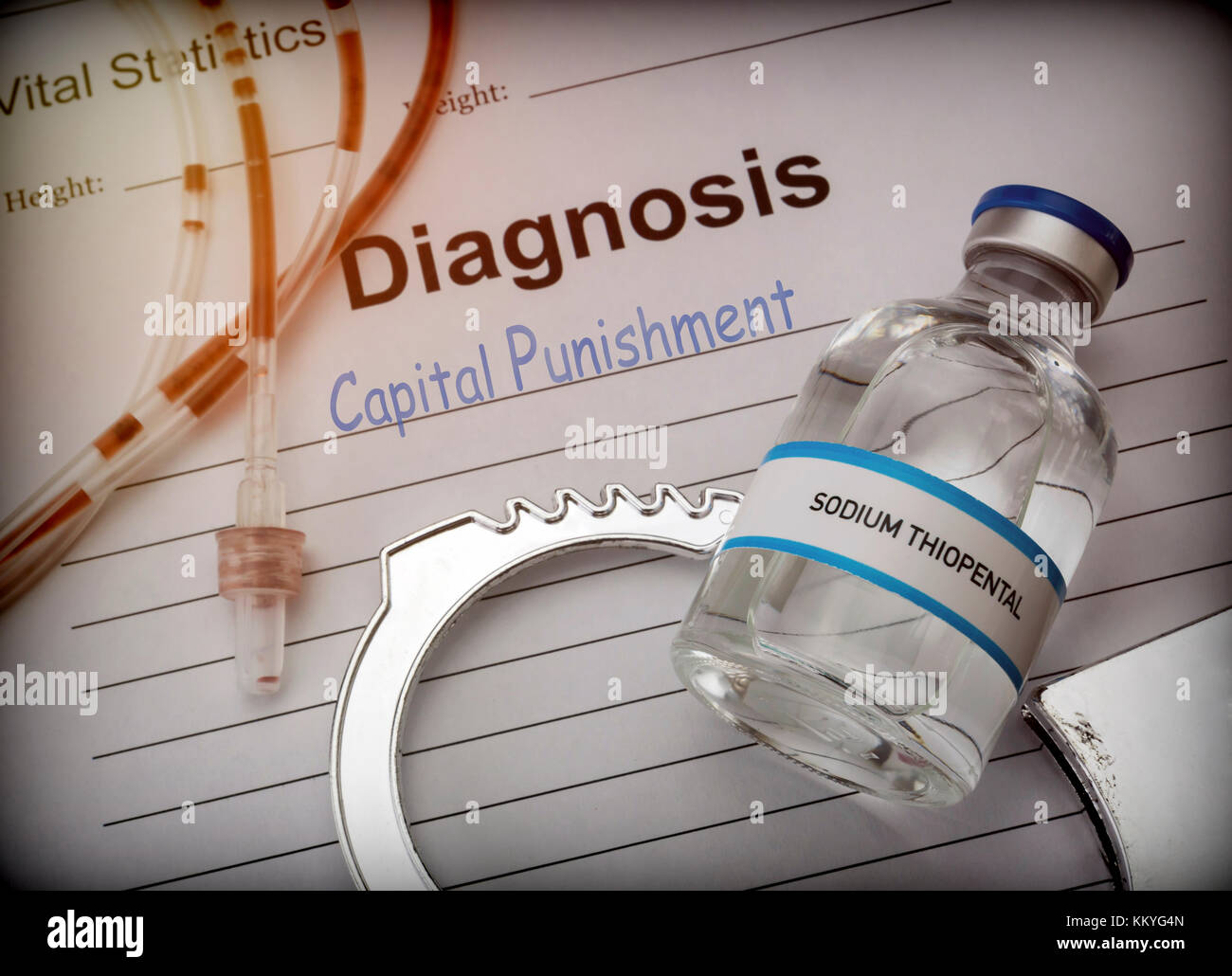 Form of diagnosis and resolution of capital punishment, injection of lethal sodium thiopental anesthesia, conceptual - Stock Image