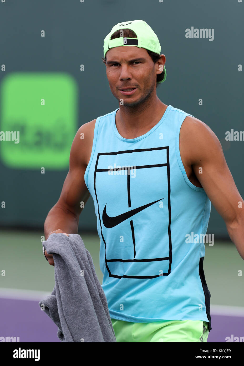 Key Biscayne Fl March 24 Rafael Nadal On The Practice Court On Stock Photo Alamy