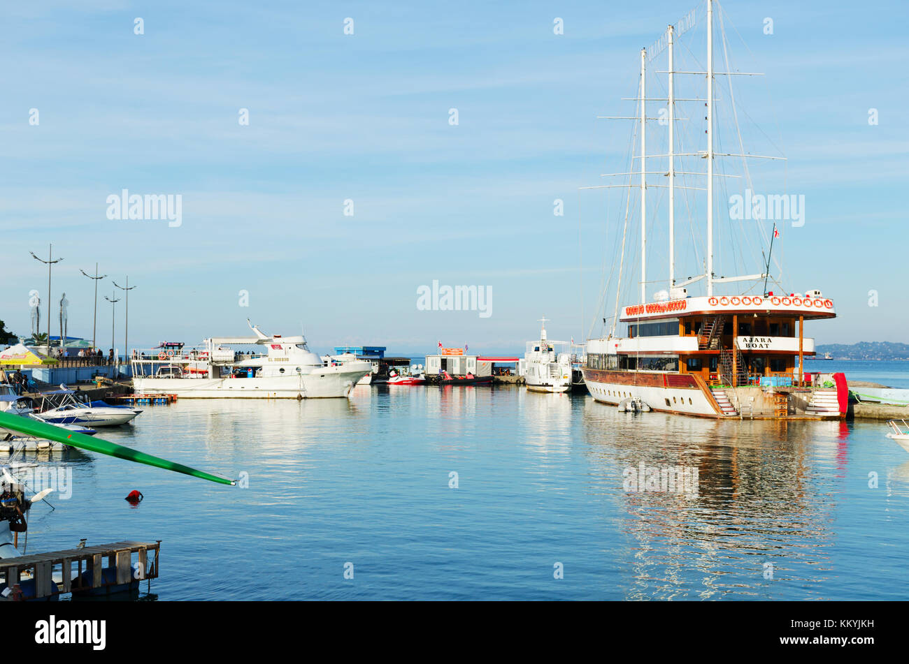 Batumi, Georgia, 11-04-2017: Boats, yachts and ships parked in the port. - Stock Image