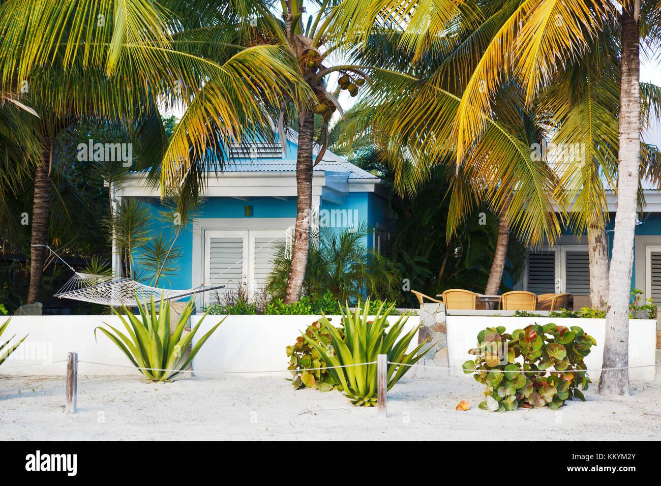 A beach villa at Jolly Beach, Antigua. - Stock Image