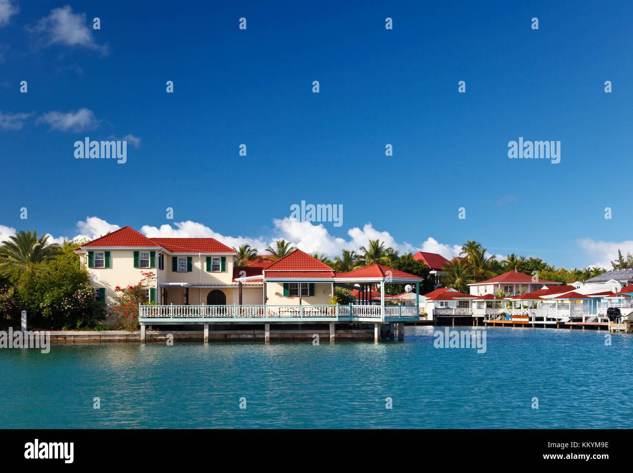 Seaside Villas near Jolly Harbour in Antigua. - Stock Image