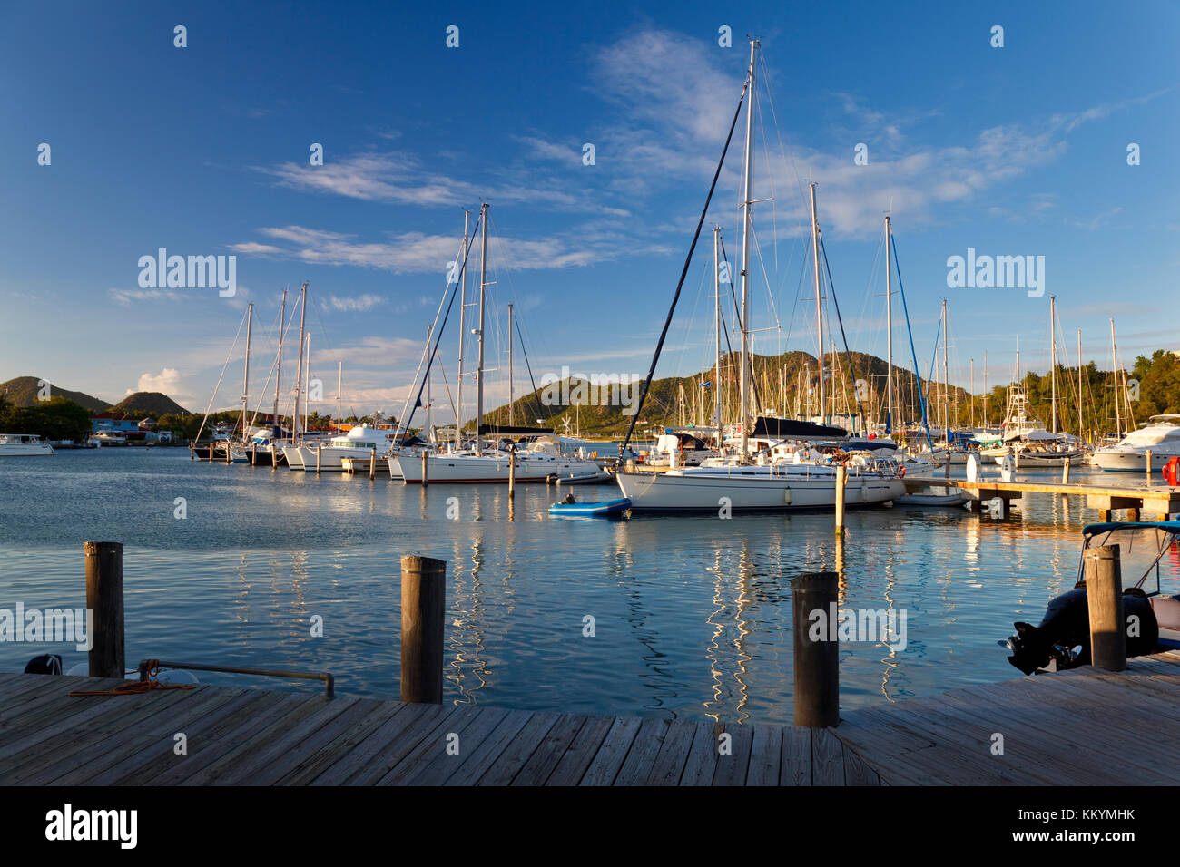 A daytime shot of sailboats in Jolly Harbour, Antigua. - Stock Image