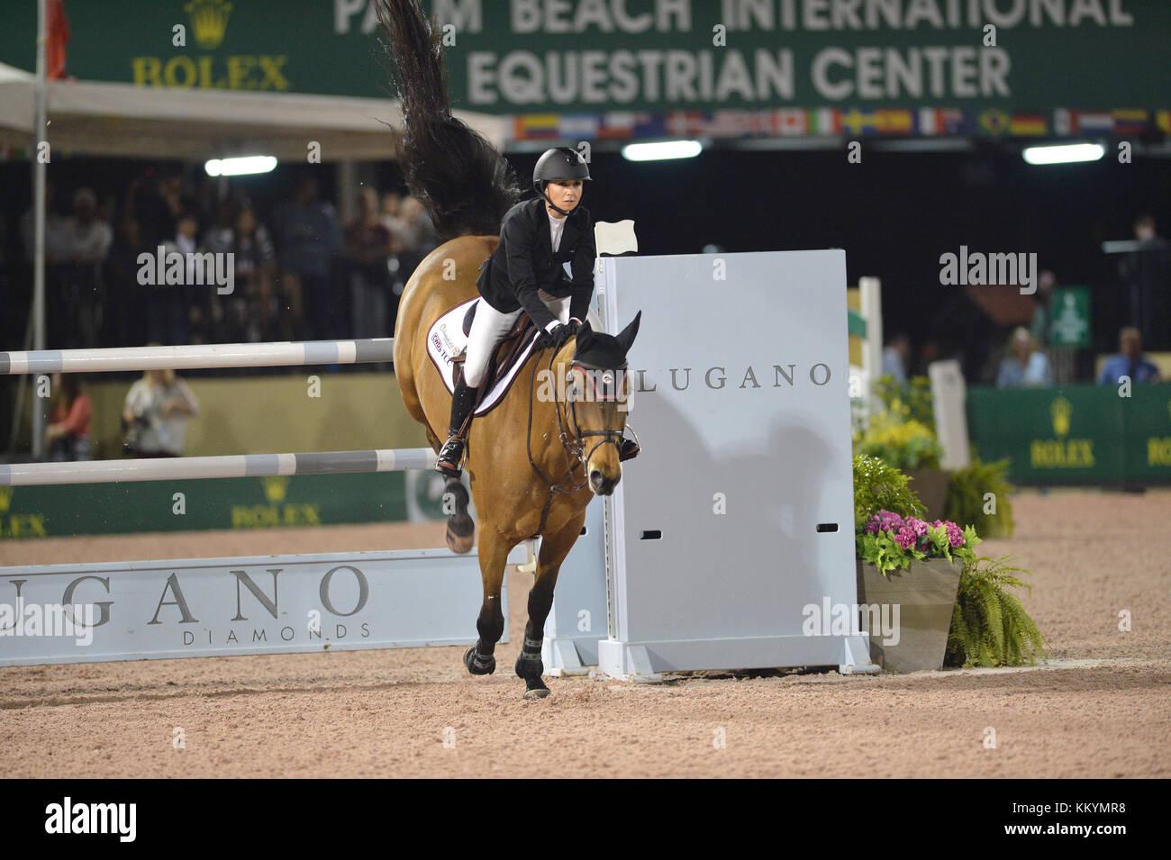 WELLINGTION, FL - FEBRUARY 25:  SATURDAY NIGHT LIGHTS: $380,000 Suncast Grand Prix CSI 5. The Winter Equestrian - Stock Image