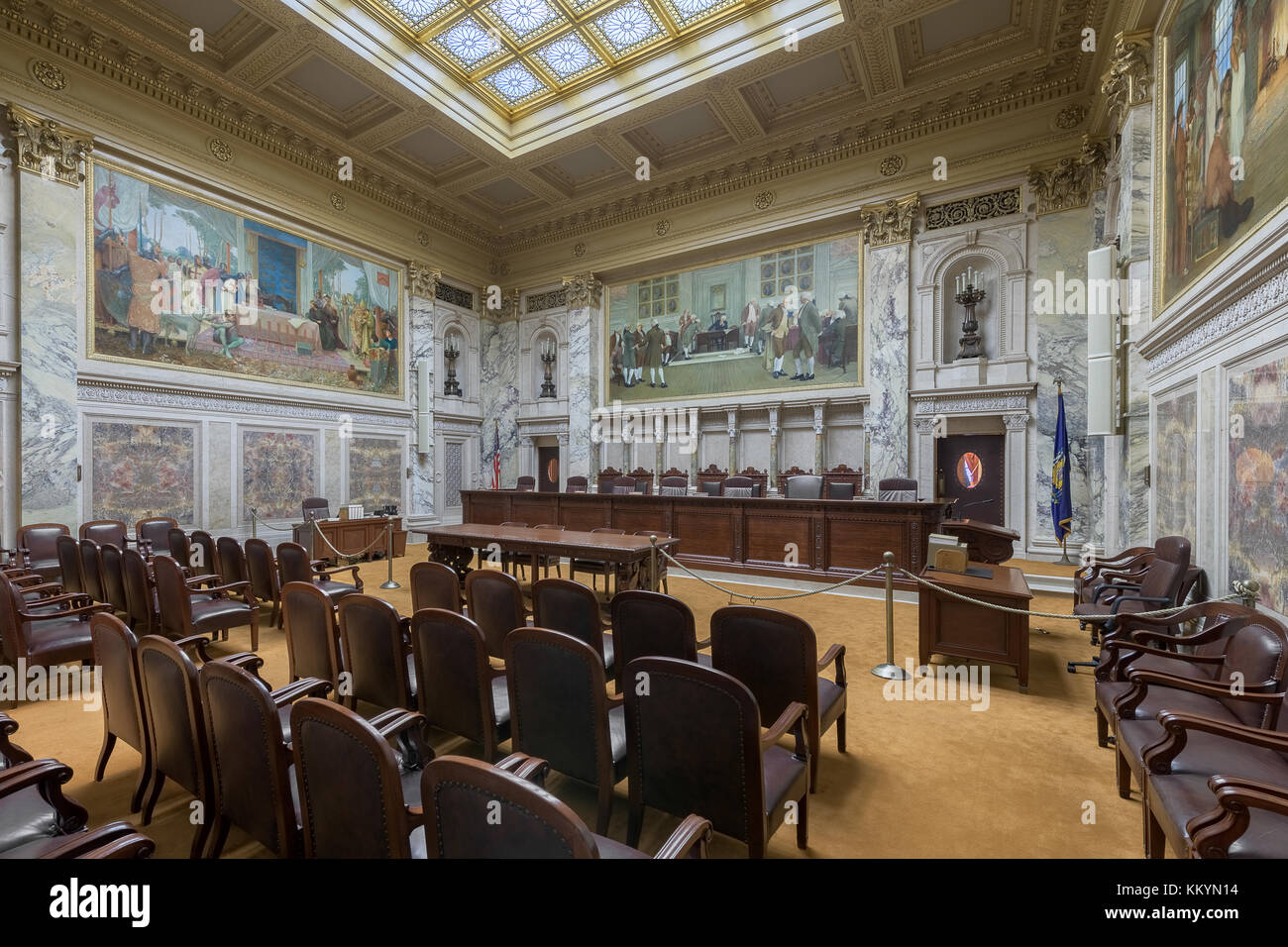 Supreme Court courtroom in the Wisconsin State Capitol in Madison, Wisconsin - Stock Image