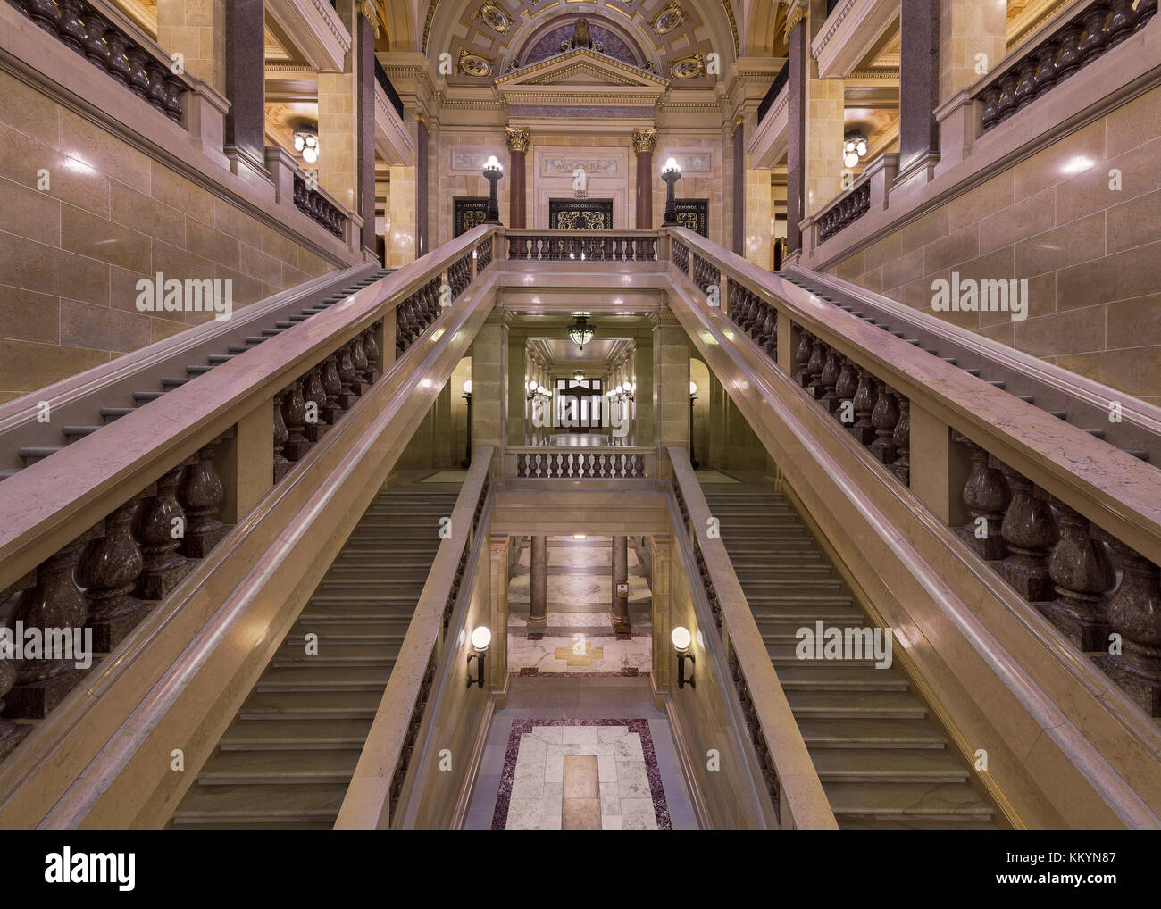 Corridor surrounded by staircases in the Wisconsin State Capitol in Madison, Wisconsin - Stock Image