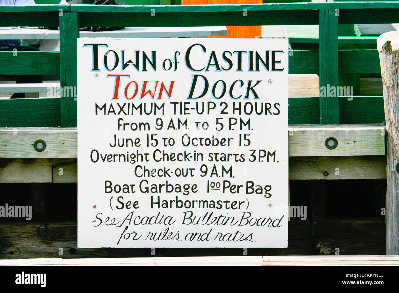 Sign at the town dock in Castine, Maine, UK - Stock Image