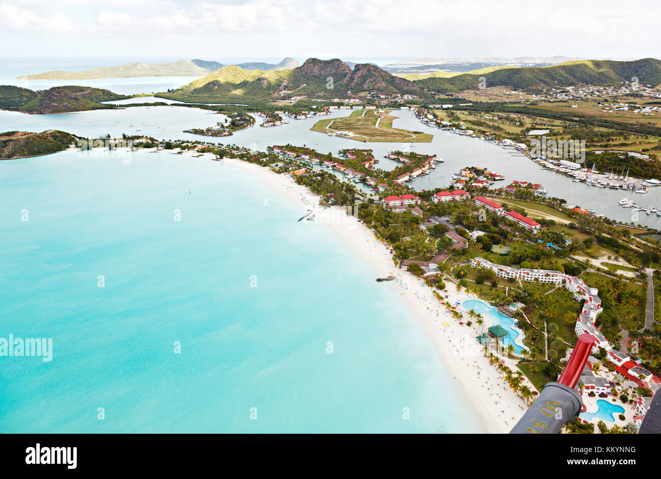 View from a helicopter to Jolly Beach and Jolly Harbor in Antigua. - Stock Image