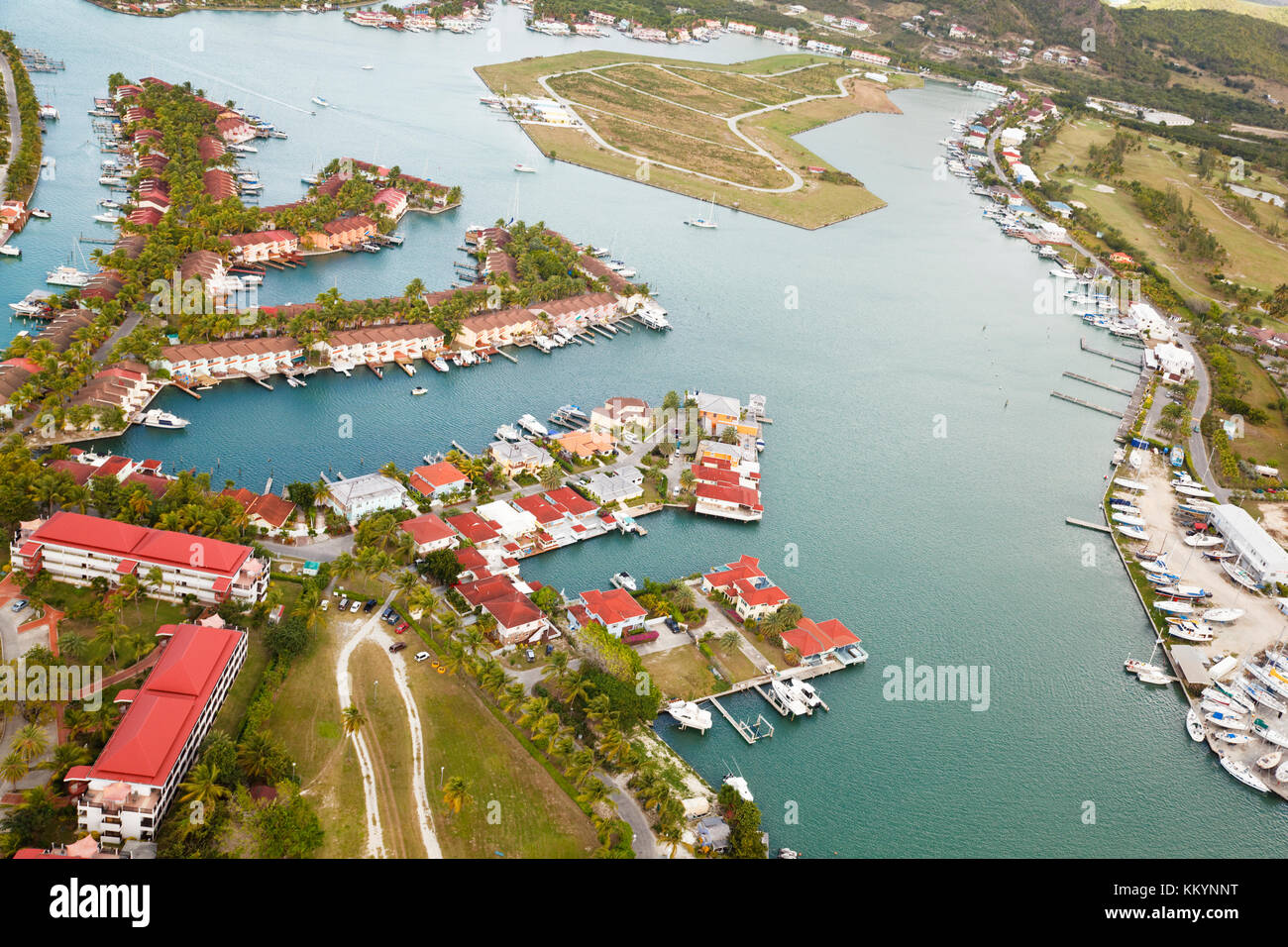 View from a helicopter to Jolly Harbor in Antigua. - Stock Image