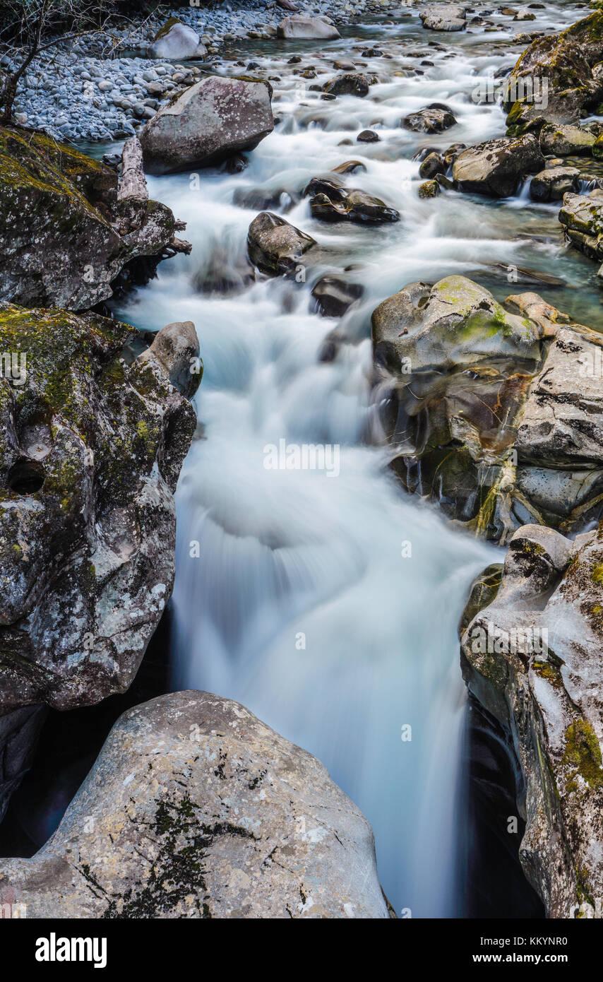 The Chasm, near Milford Sound, Fiordlands, New Zealand. Stock Photo
