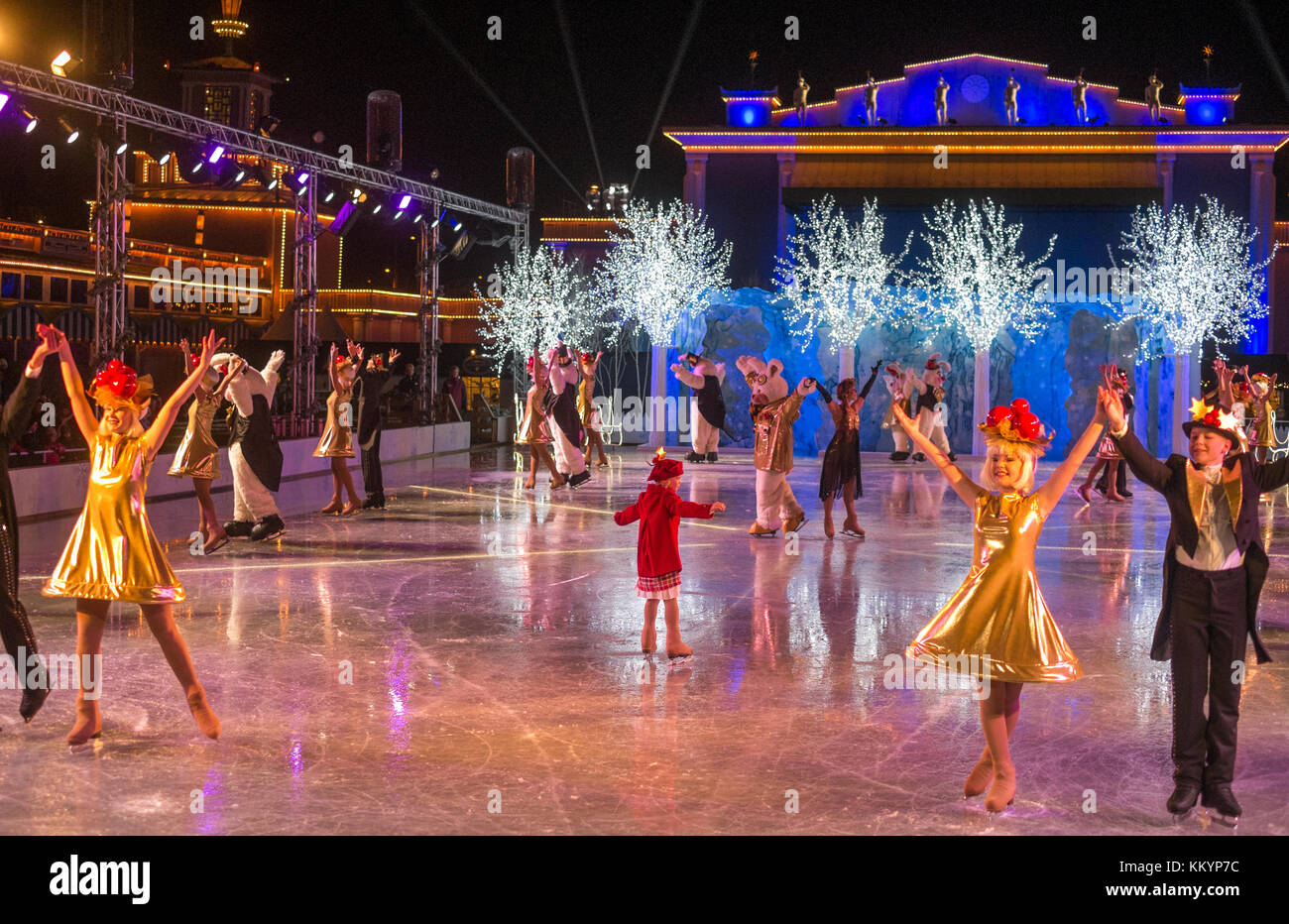 Traditional Christmas show on ice at Liseberg in Gothenburg. The Christmas market at Liseberg amusement park is Stock Photo