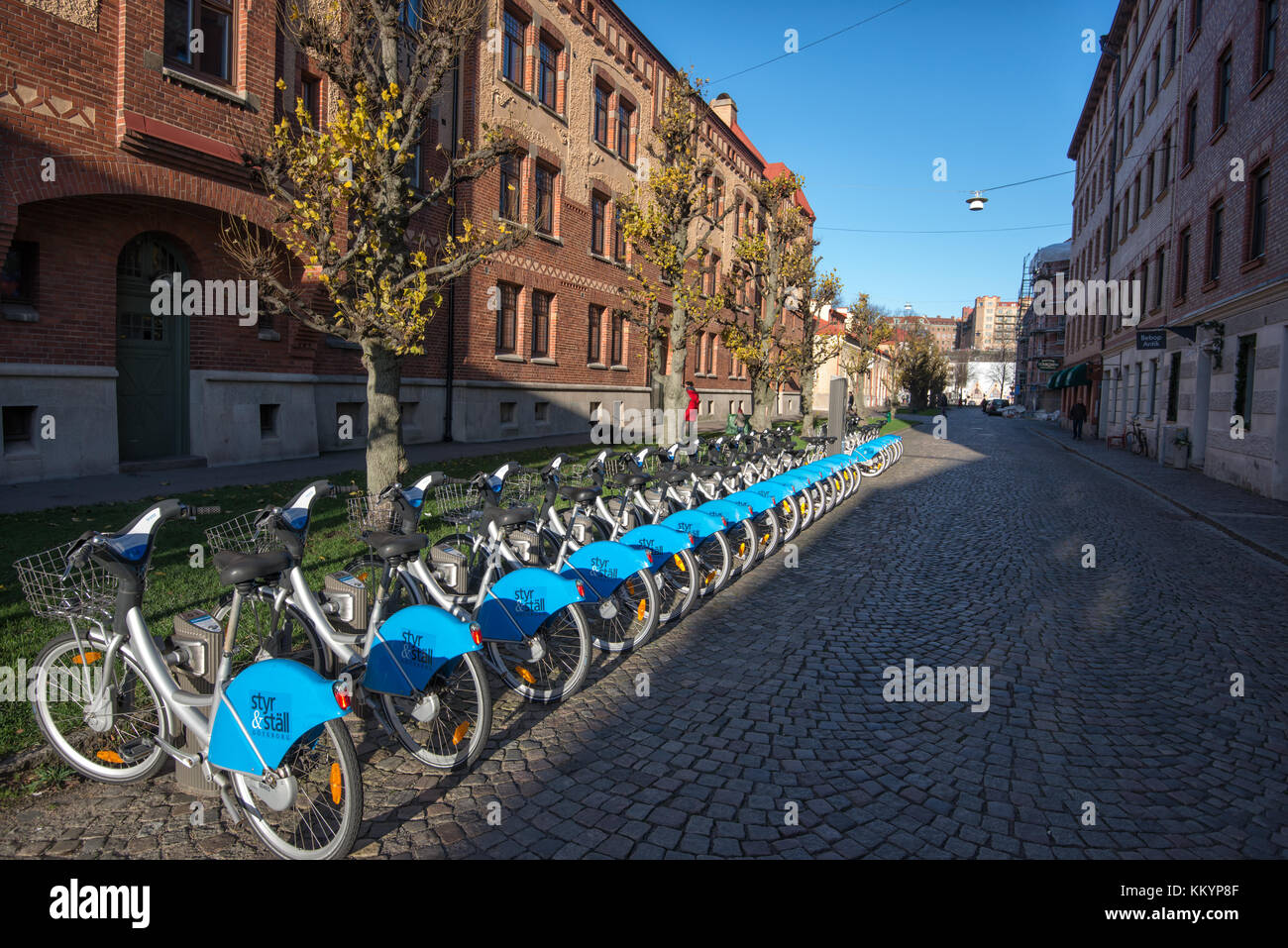 Göteborg City Bike station at Haga in Gothenburg. Haga is a historic residential area, which has become fashionable - Stock Image