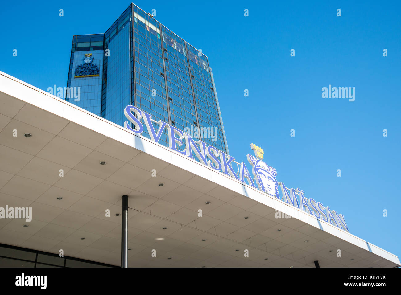 Entrance to Svenska Mässan - the Swedish Exhibition and Congress Center in Gothenburg. It is one of the largest - Stock Image