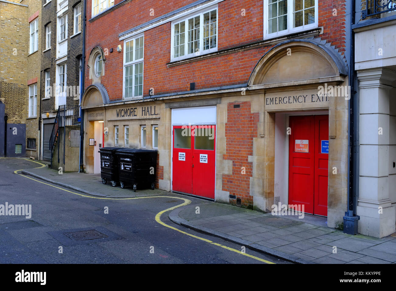 Wigmore Hall Artistes Entrance, Welbeck way, Marylebone, London UK Stock Photo