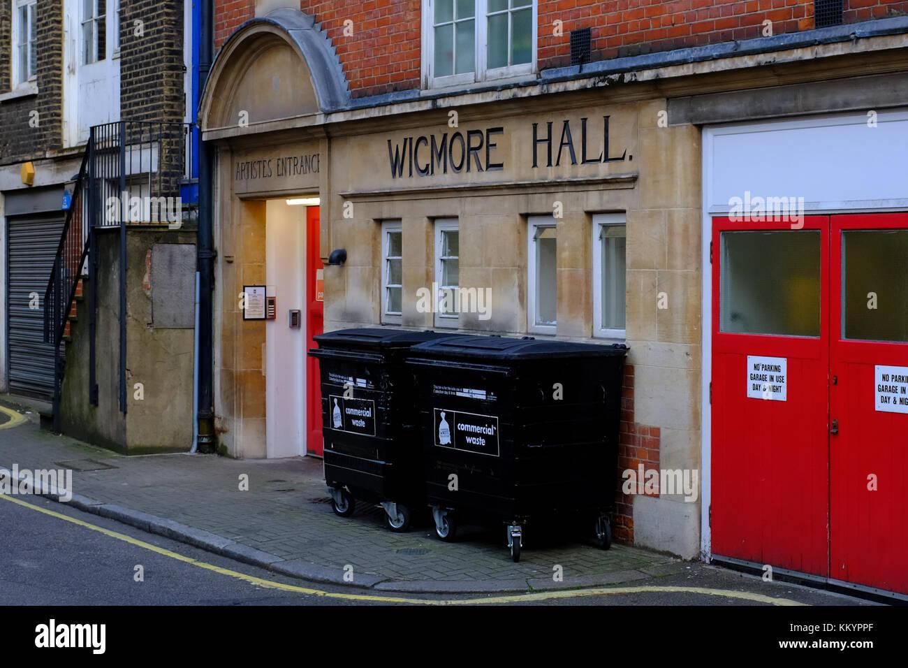 Wigmore Hall Artistes Entrance, Welbeck way, Marylebone, London UK - Stock Image
