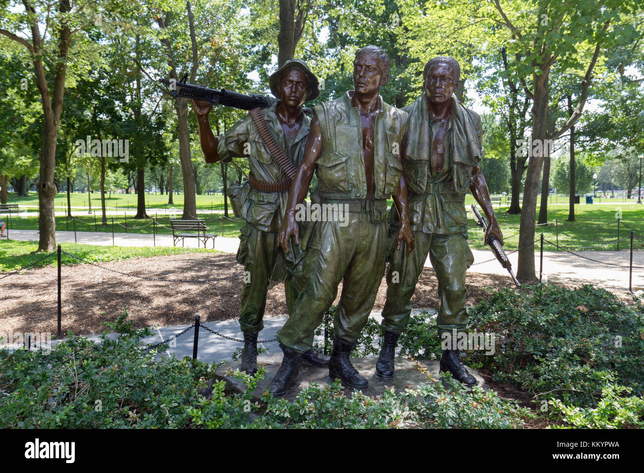 The Three Servicemen Memorial, part of the Vietnam Veterans Memorial,, National Mall, Washington DC, United States. - Stock Image