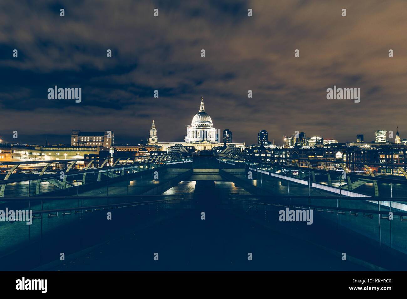 London exposure of modern London skyline with Millennium Bridge and St Paul's Cathedral - Stock Image