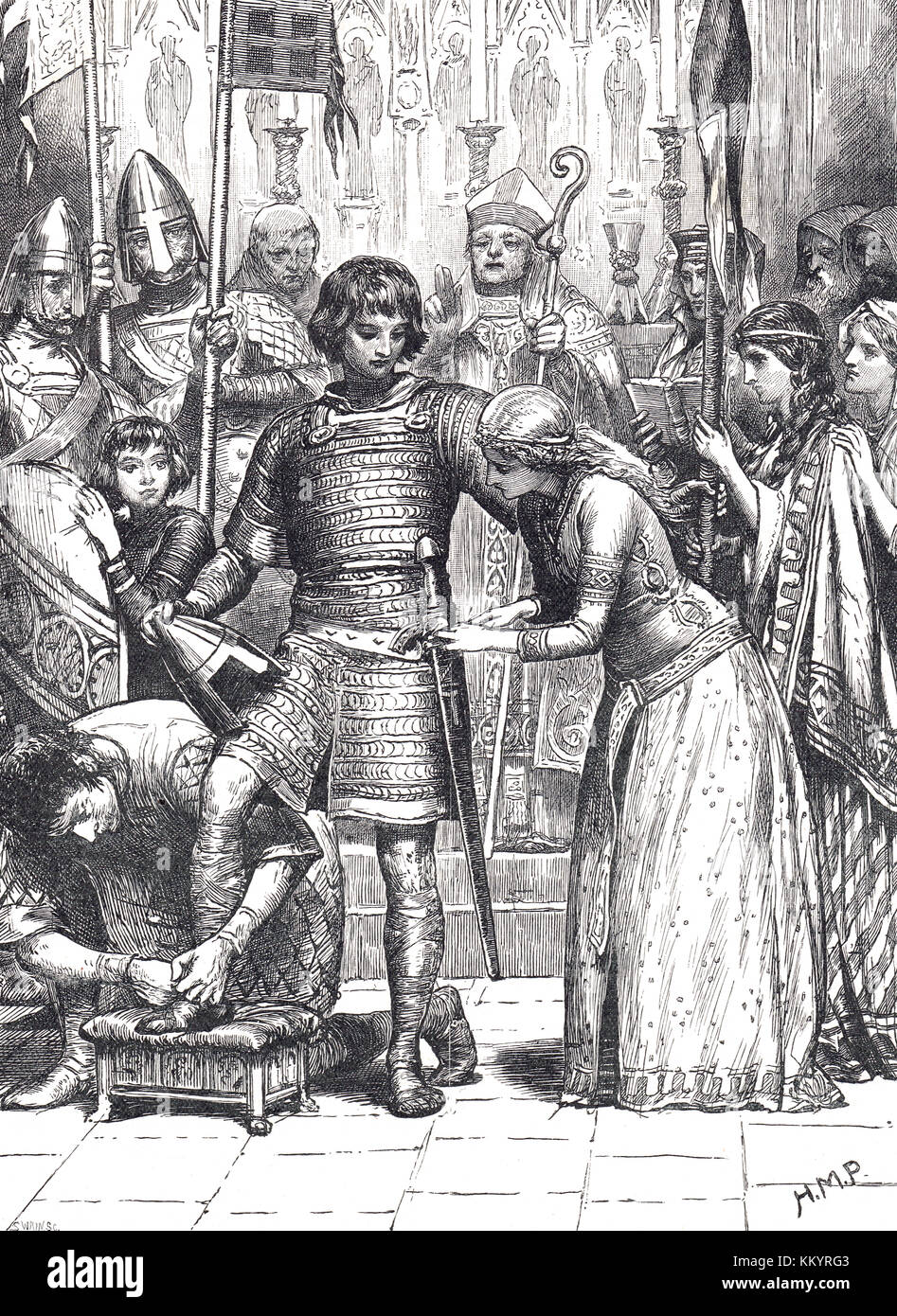 Initiation into the order of Knighthood.  The age of chivalry. - Stock Image