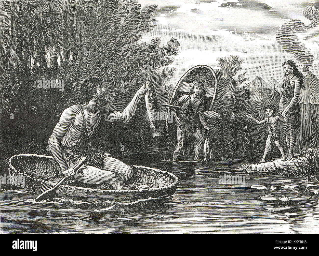Ancient Britons with Coracles, AD 62 - Stock Image