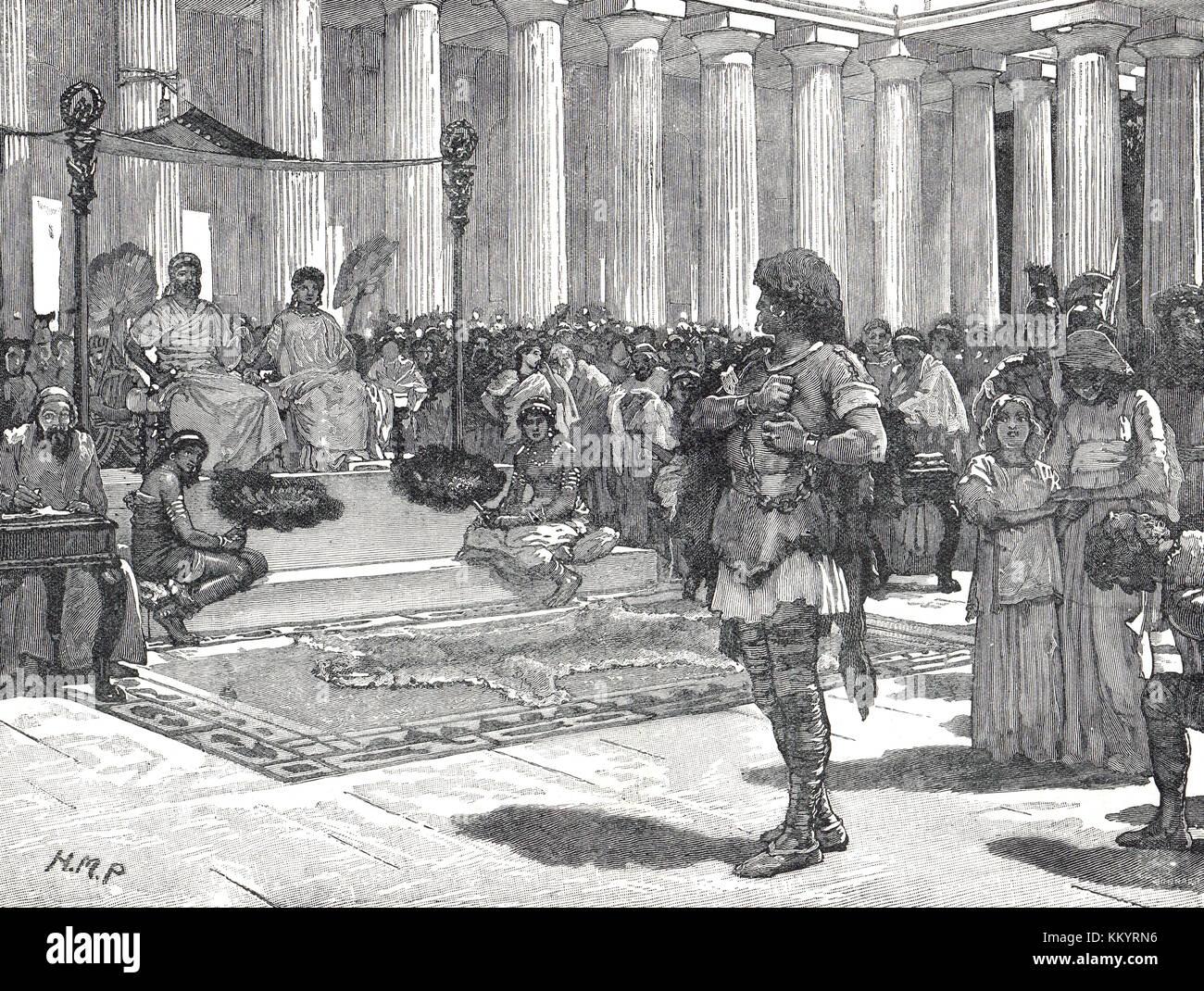 Caratacus before Claudius circa AD 50 - Stock Image