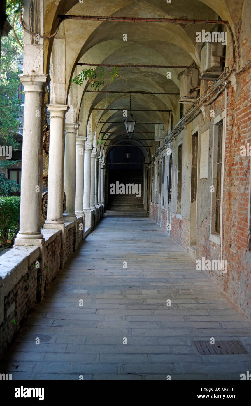 Cloistered courtyard, one of two, in former S Lazzaro ai Mendicanti, - Stock Image