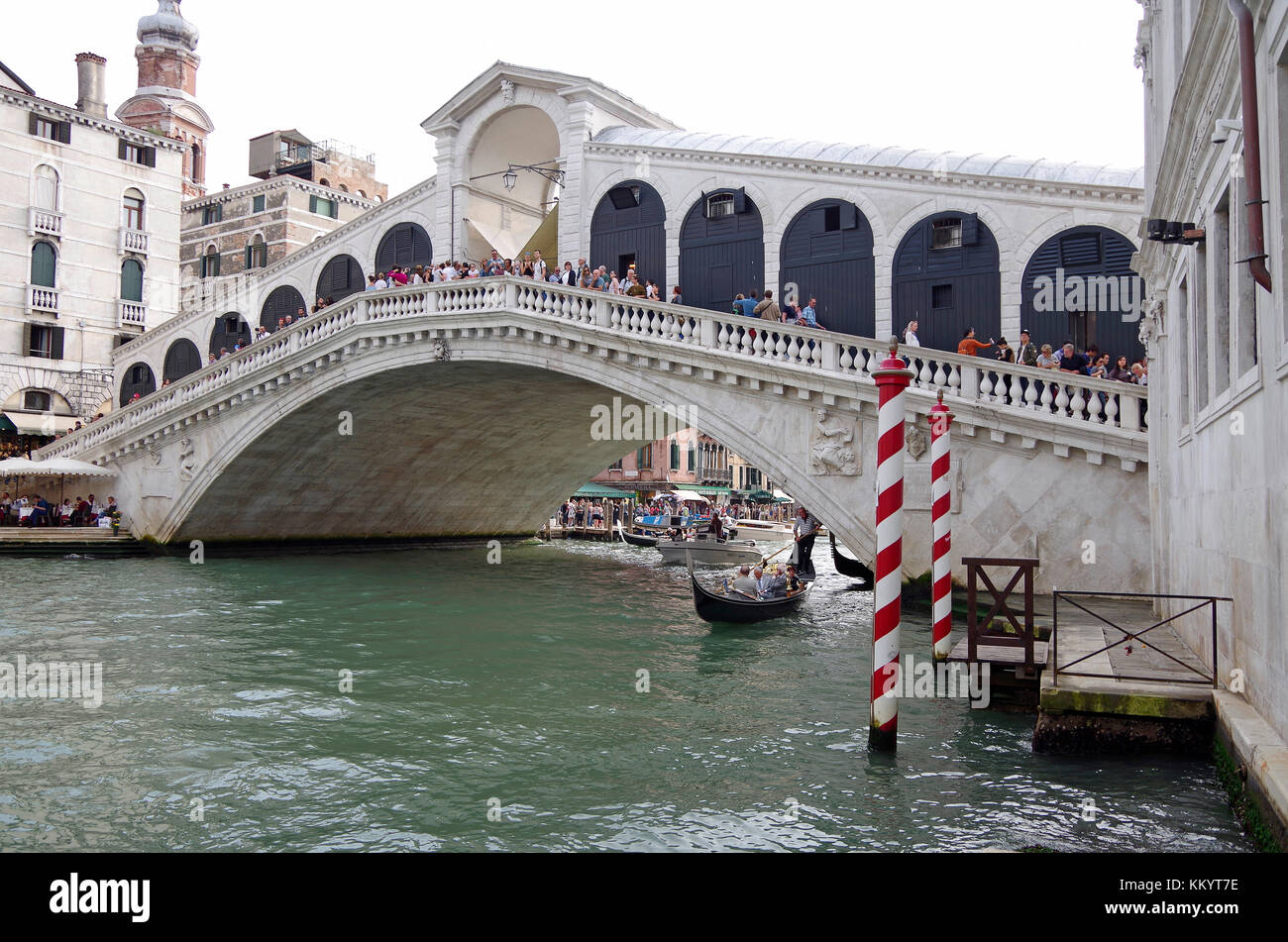 Venice, Italy, view of the recently refurbished Rialto bridge from the north, - Stock Image
