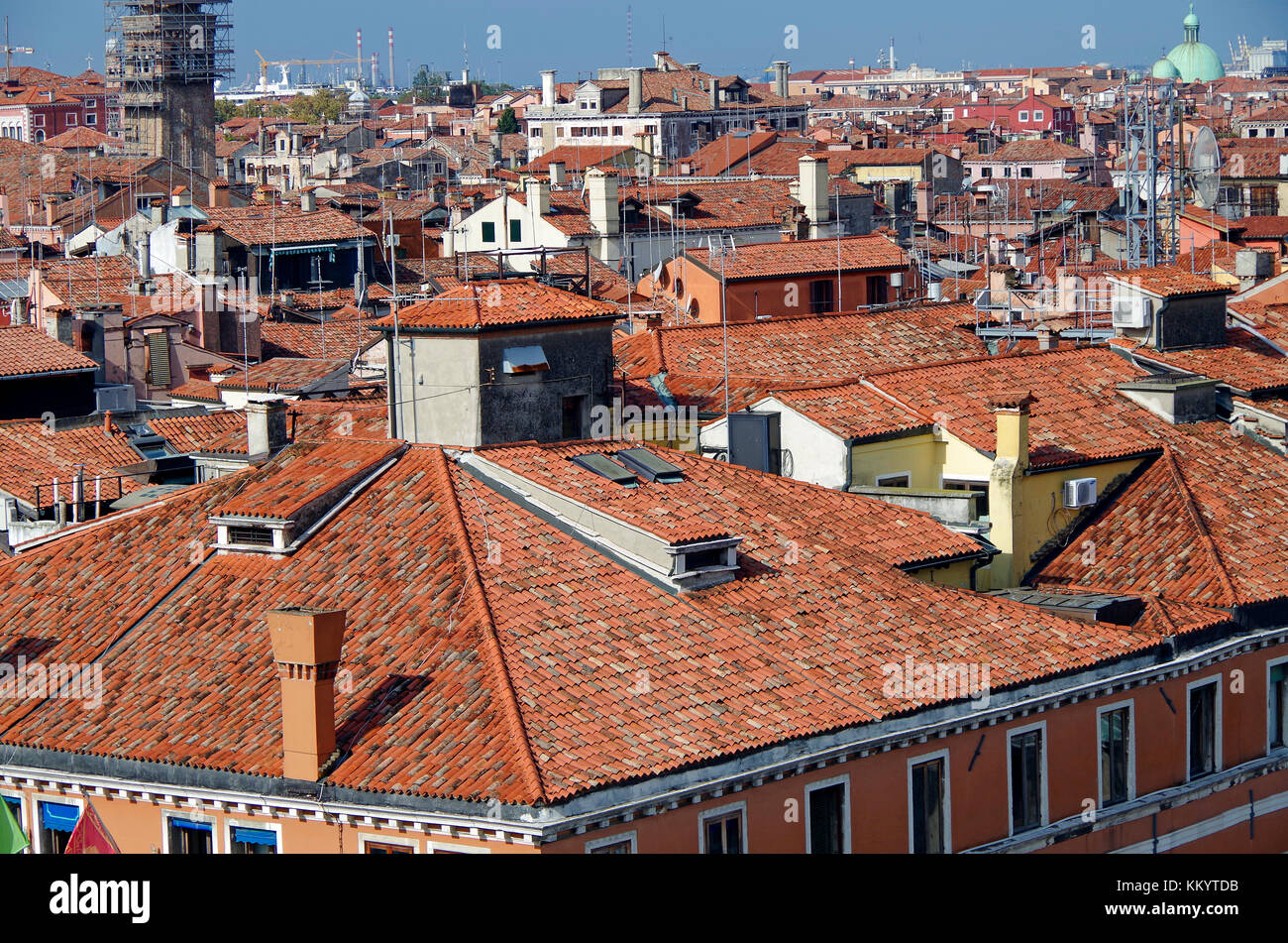 View from new roof terrace of Fontego (Fondaco) dei Tedeschi, adjacent to the Rialto bridge, - Stock Image