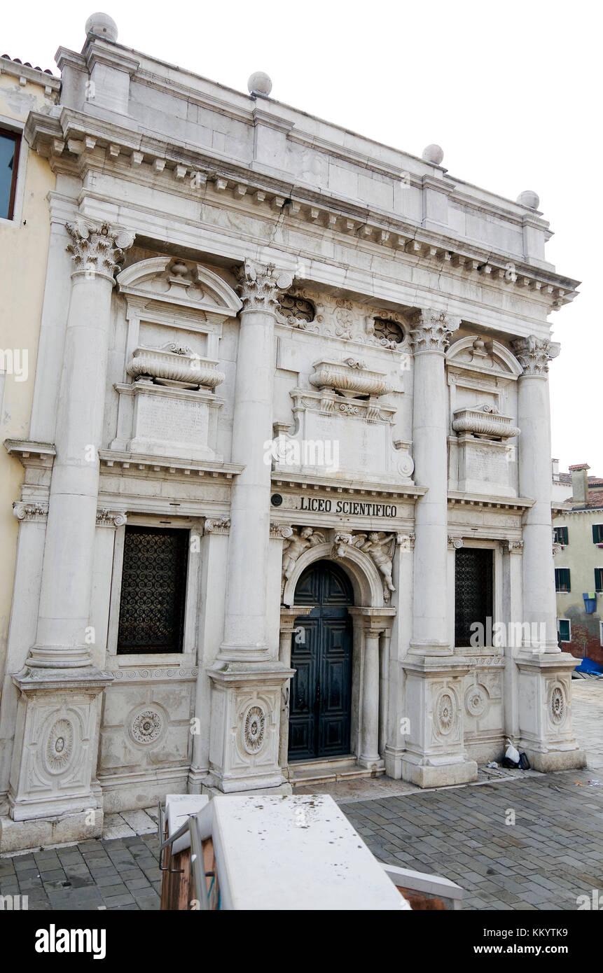 The former church of S. Giustina, architect Baldassarre Longhena, now a school, Liceo Scientifico G.B. Benedetti, - Stock Image