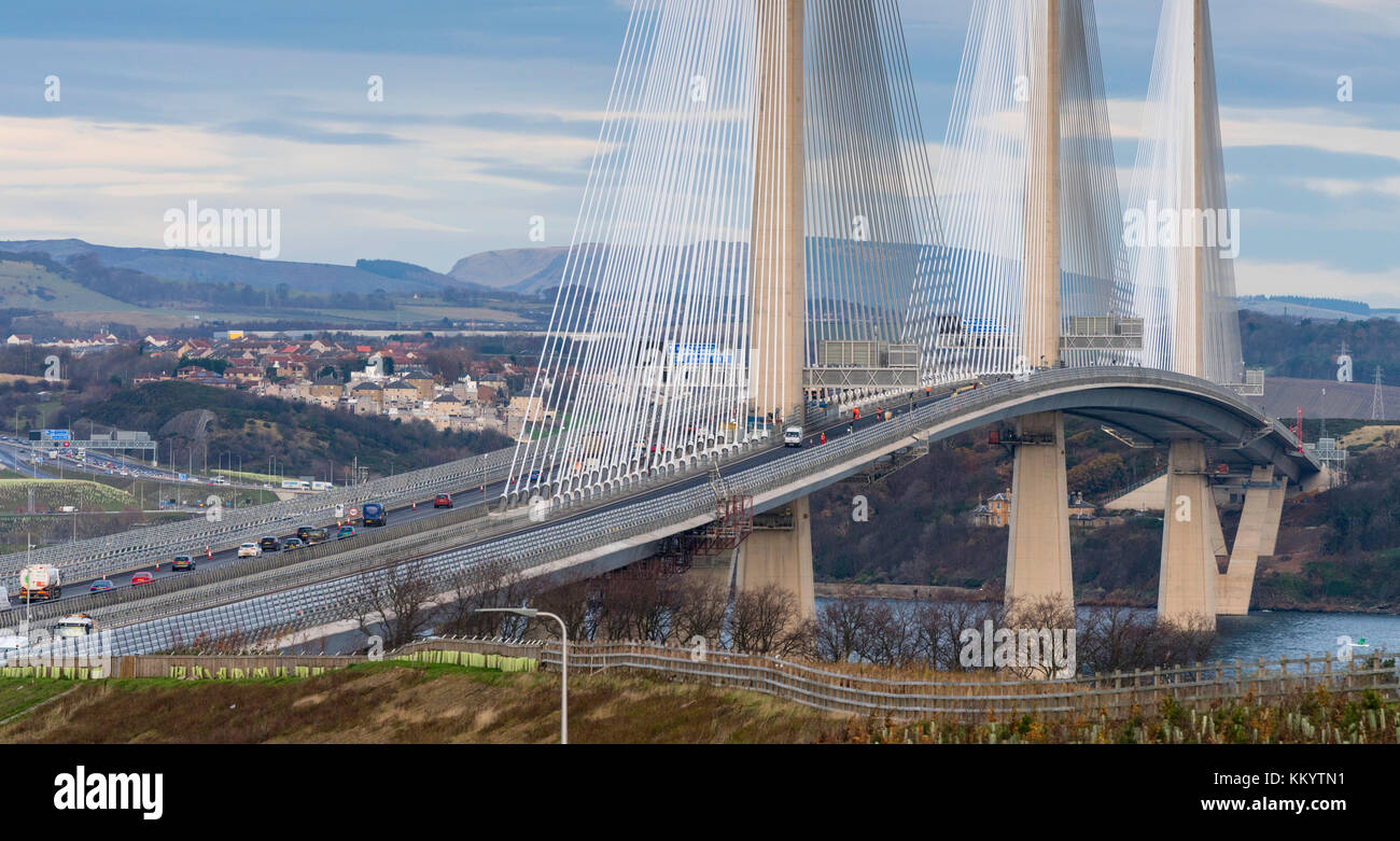 View of Queensferry Crossing bridge with southbound carriageway closed to allow road repairs. At South Queensferry - Stock Image