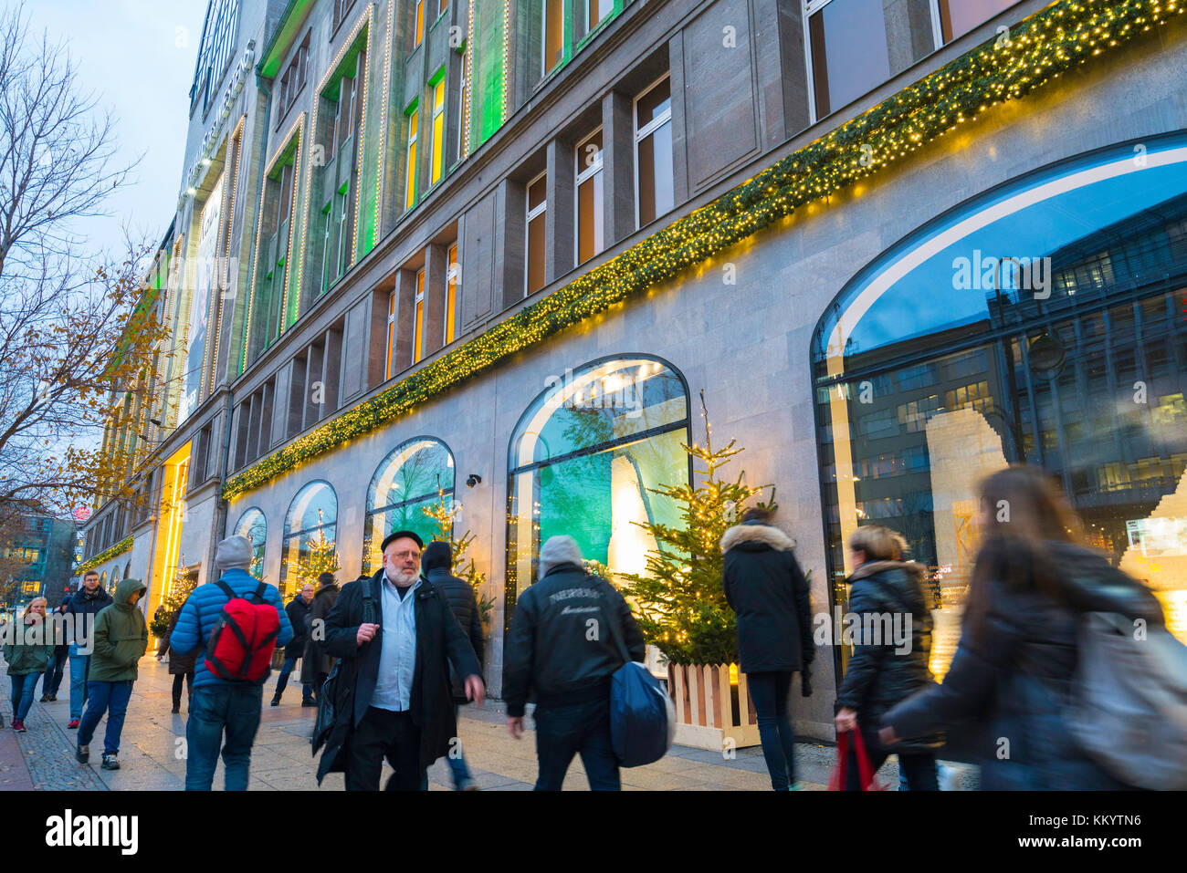 Busy street outside famous KaDeWe department store at Christmas in Berlin, Germany - Stock Image