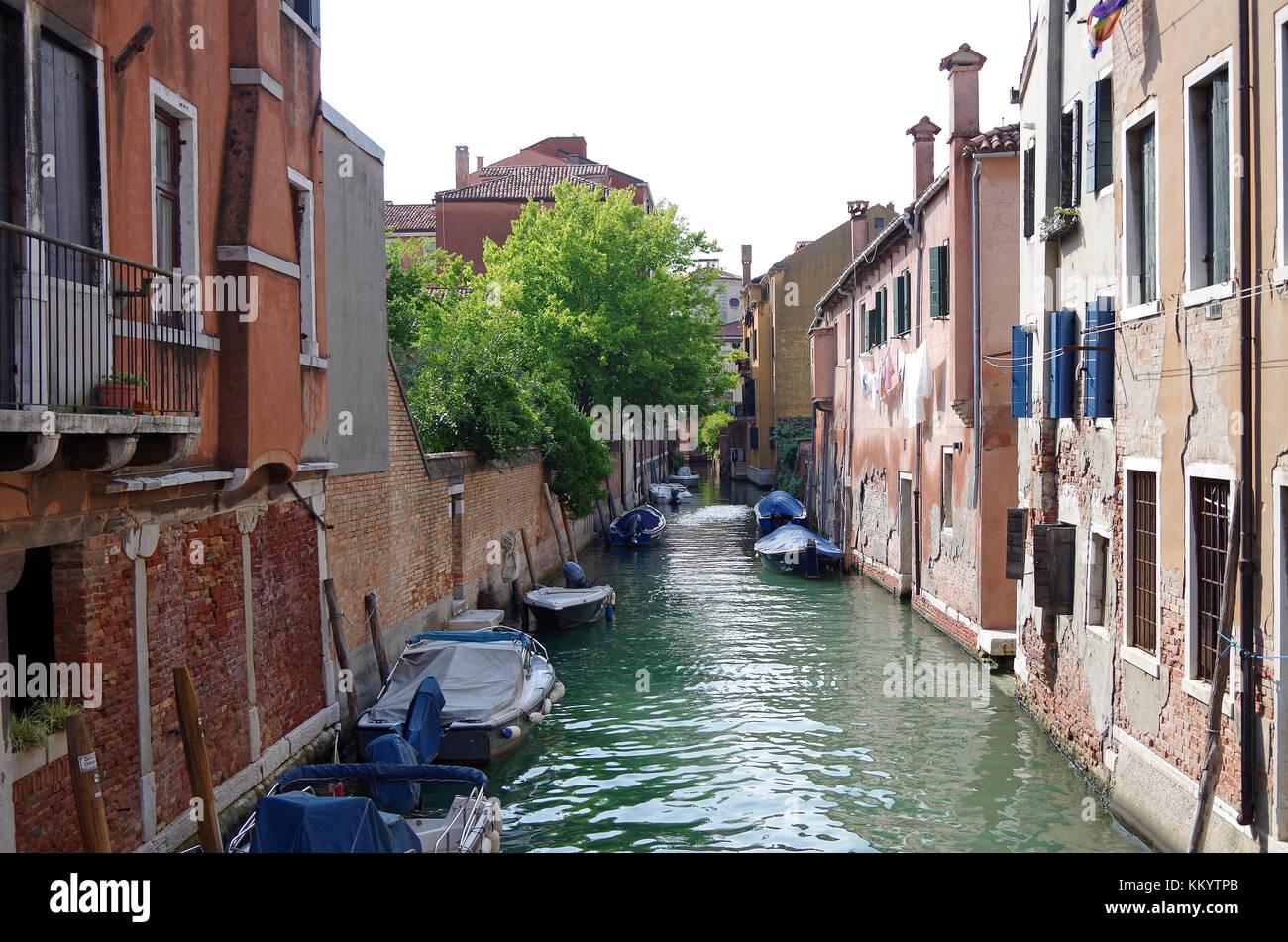 View westwards, from Ponte de la Cazziola on the Rio (canal) de la Cazziola Venice, Italy, Stock Photo