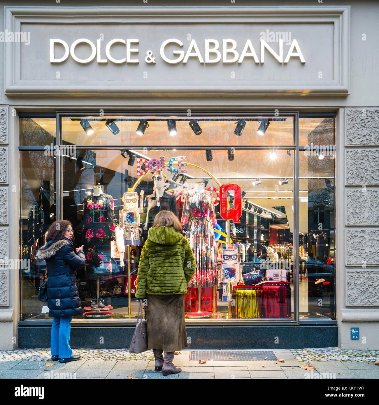 Dolce & Gabbana boutique on famous Kurfurstendamm shopping street in Berlin, Germany. - Stock Image
