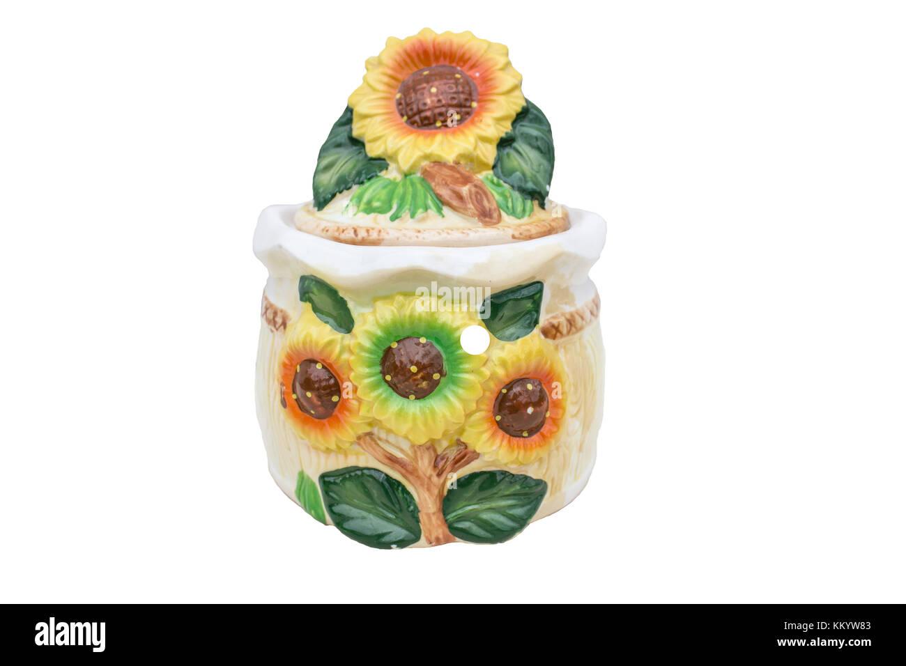 Souvenir box for storing various trifles 'Sunflower' - Stock Image