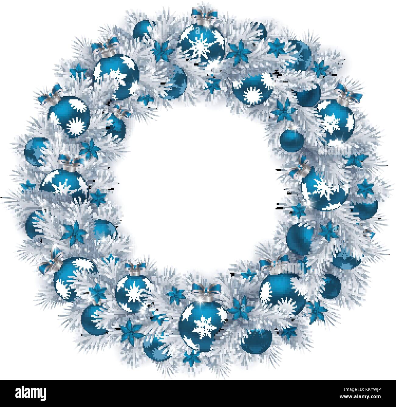 christmas wreath with silver colour fir branches blue balls and decorations isolated on white background - Blue Christmas Wreath