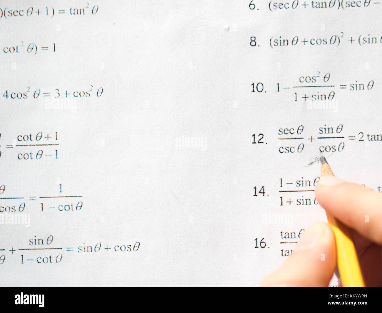 Studying for challenging Math Test - Stock Image