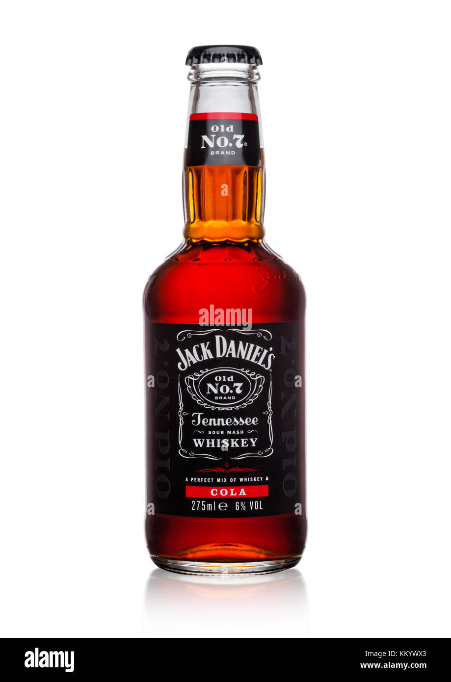 LONDON, UK - DECEMBER 01, 2017: Bottle of Jack Daniel's and cola mixed on white background.The new branding - Stock Image