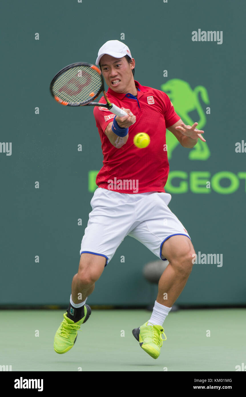 KEY BISCAYNE, FL - APRIL 03: Novak Djokovic of Serbia defeats Kei Nishikori of Japan In the mens final on Day 14 - Stock Image