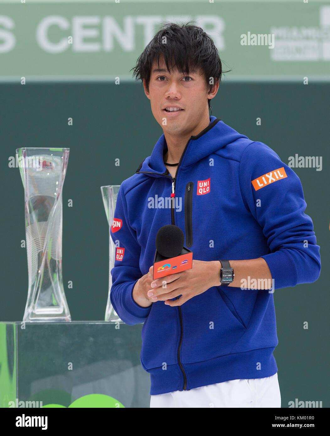 KEY BISCAYNE, FL - APRIL 03: Novak Djokovic of Serbia defeats Kei Nishikori of Japan during the mens final on Day - Stock Image