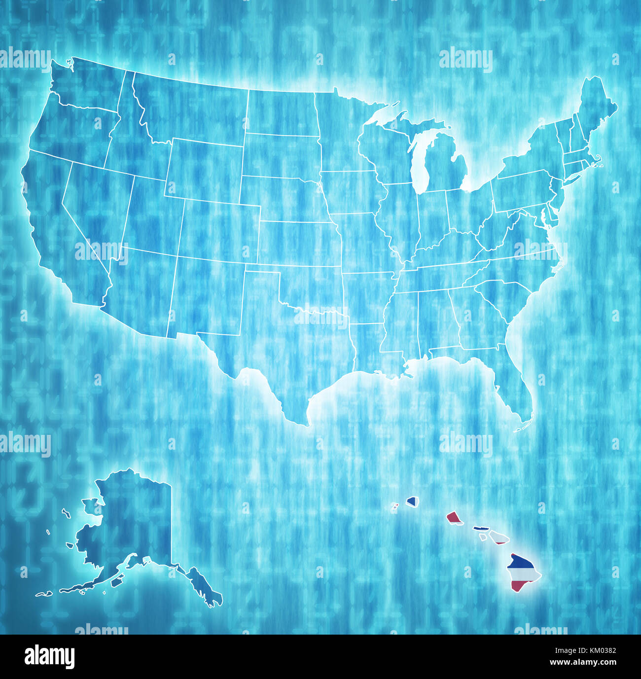 hawaii on isolated map of united states of america with state ...