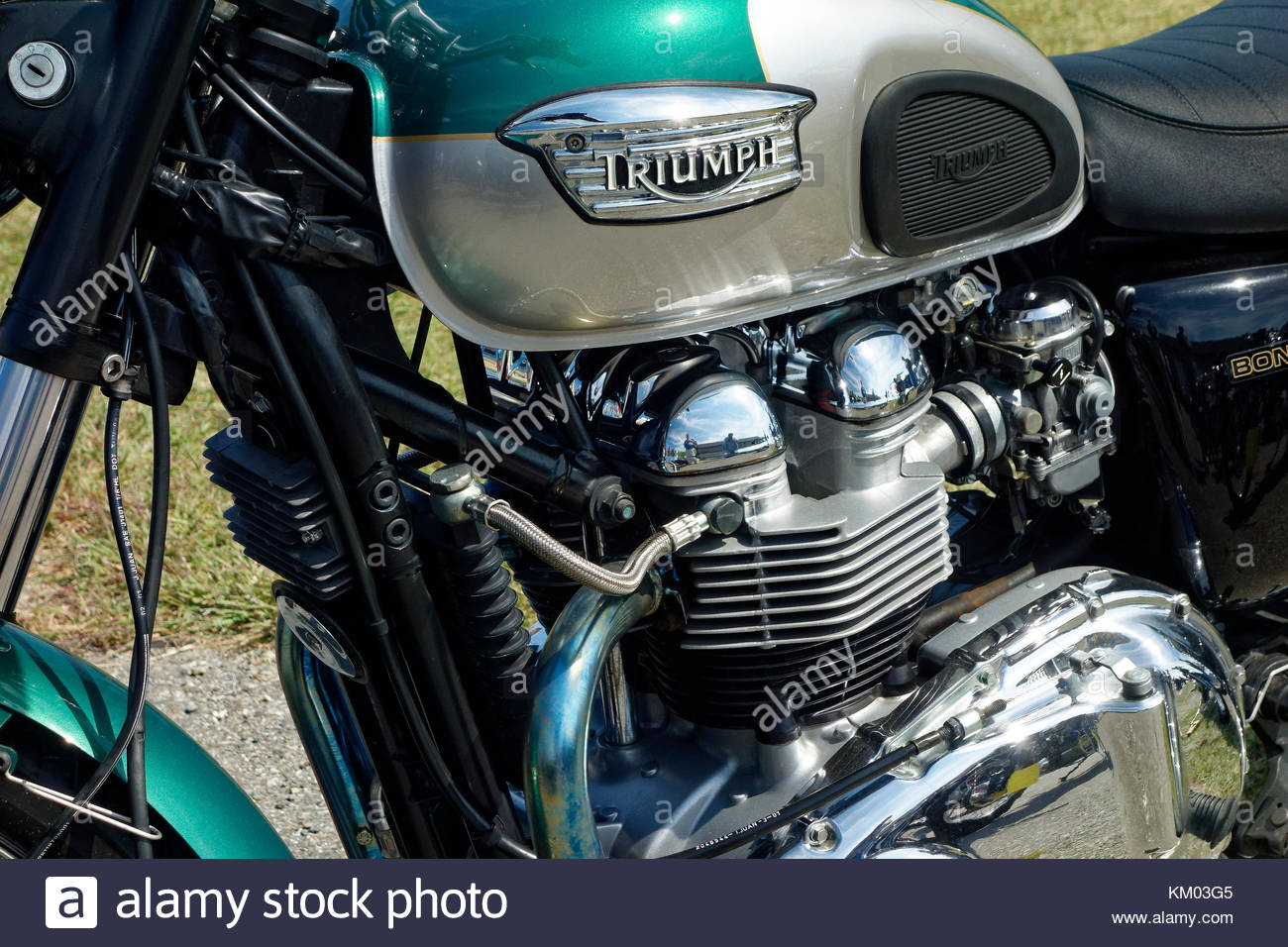 Triumph Bonneville motorcycle at the annual meet, Owls Head Transportation Museum, Maine - Stock Image