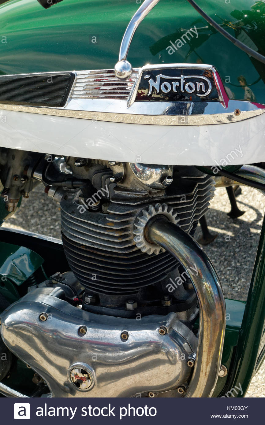 Norton motorcycle at the annual meet, Owls Head Transportation Museum, Maine - Stock Image