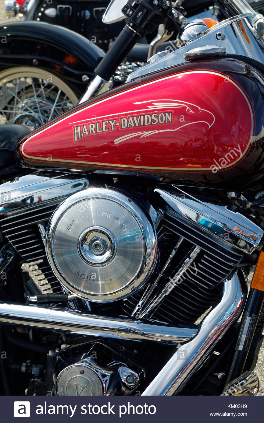 Motorcycle at the annual meet, Owls Head Transportation Museum, Maine - Stock Image