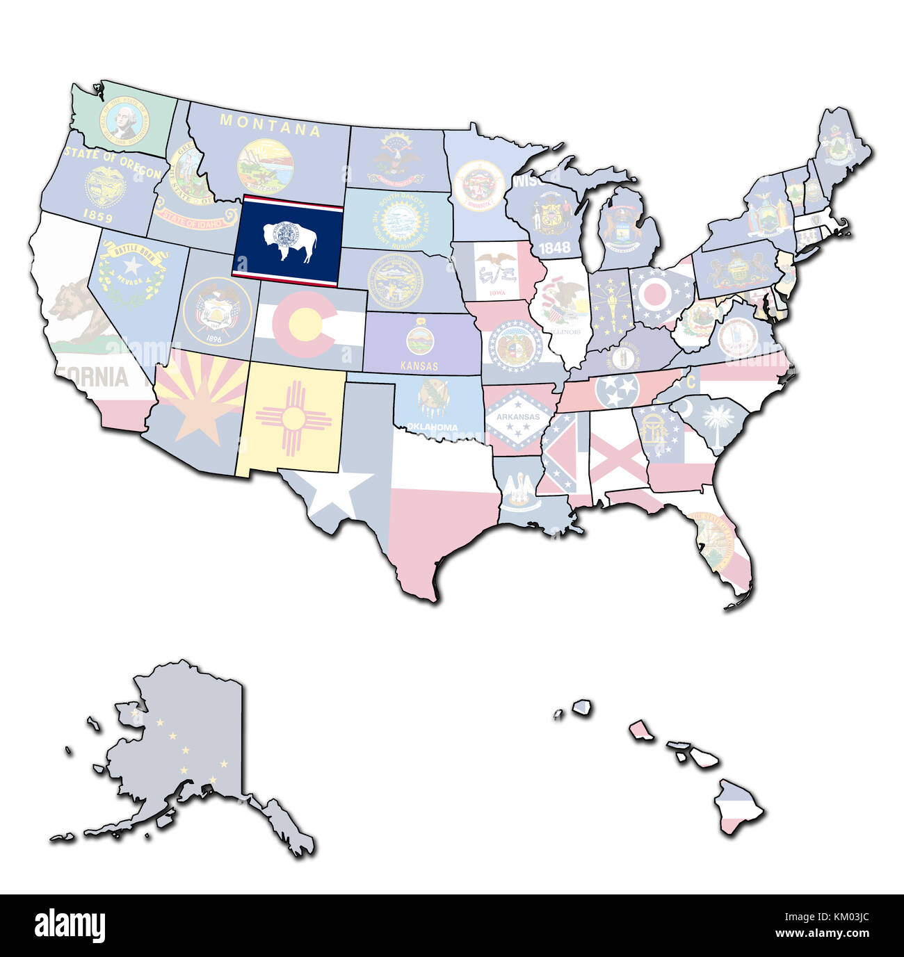 united states map wyoming Wyoming On Isolated Map Of United States Of America With State