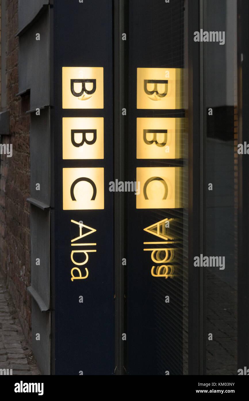 BBC Alba sign at The Tun offices, Edinburgh, Scotland, UK - Stock Image