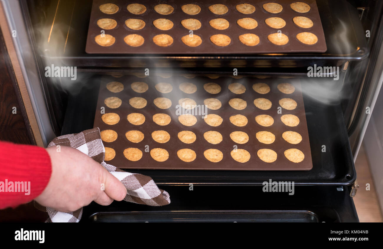Christmas nut pastry in open hot oven. Baking sheets and molds, hand with dish towel, steam and sweet shortbreads. - Stock Image