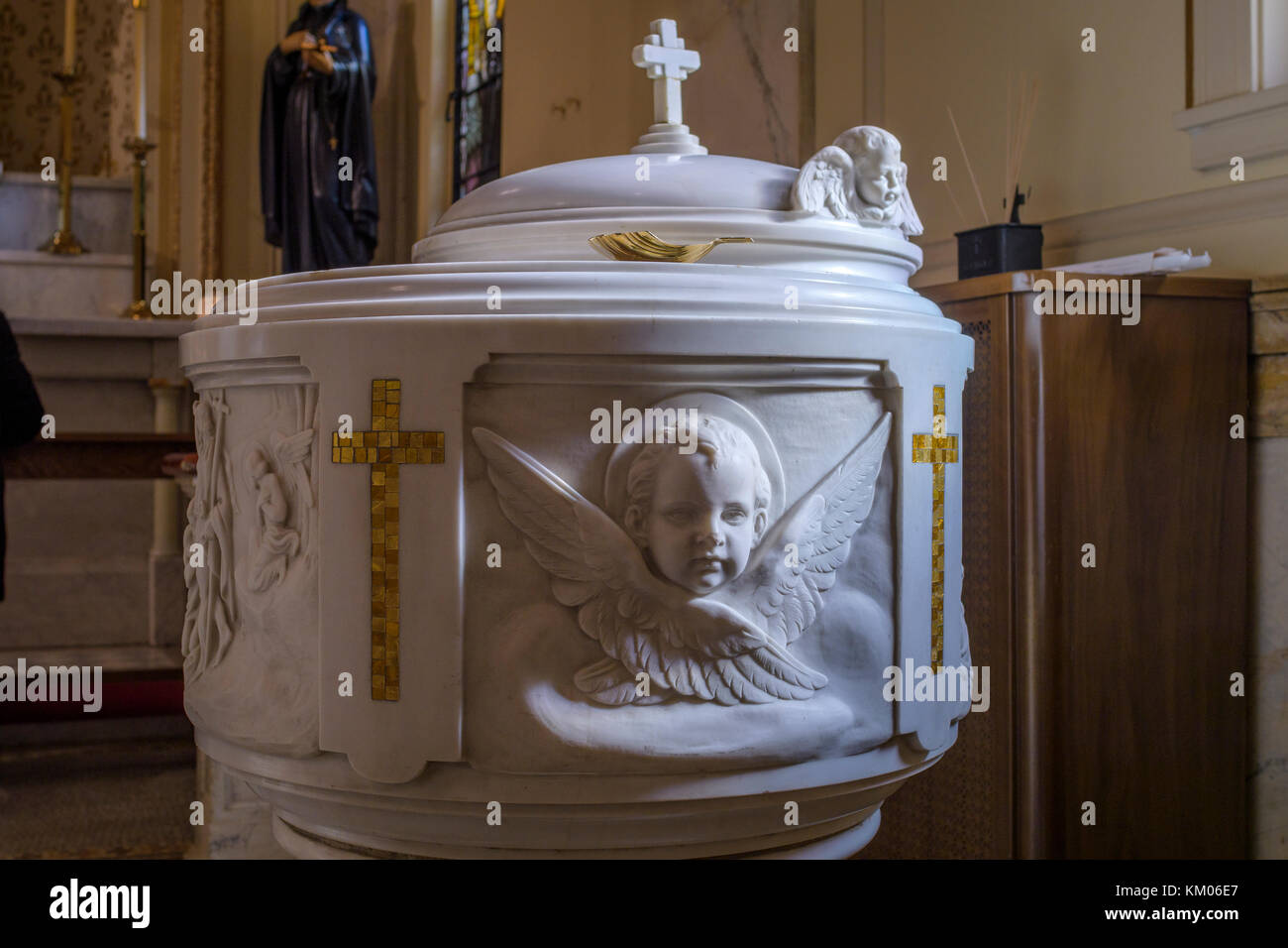 Baptismal basin in Catholic church, Washington D.C., USA. - Stock Image