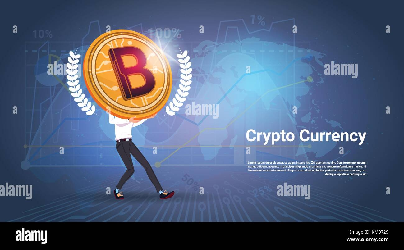 Crypto currency banner man holding golden bitcoin over world map crypto currency banner man holding golden bitcoin over world map background digital web money concept gumiabroncs Choice Image