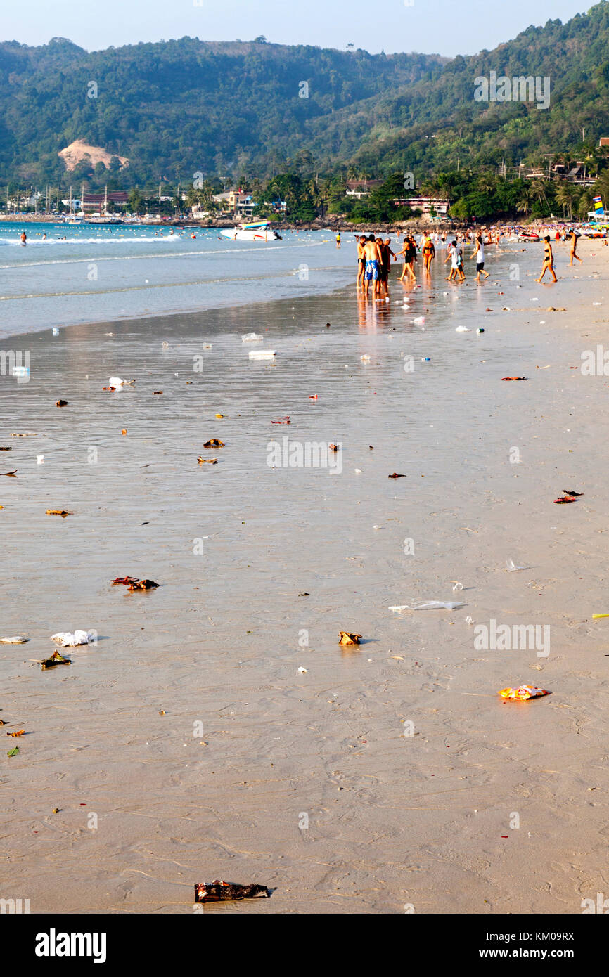Pollution on Patong Beach, Phuket, Thailand - Stock Image