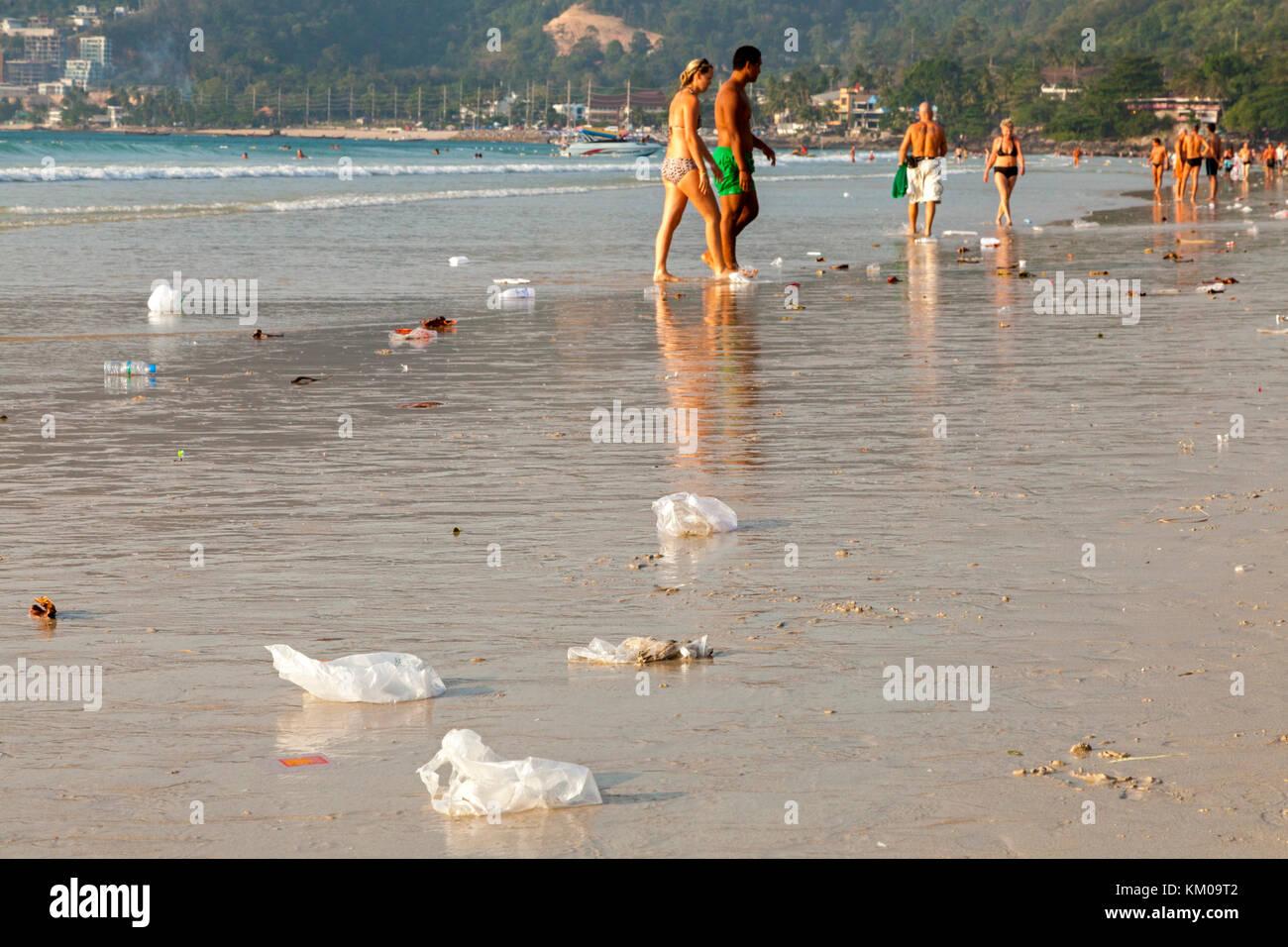 Pollution on Patong beach, Phuket, Thailand - Stock Image