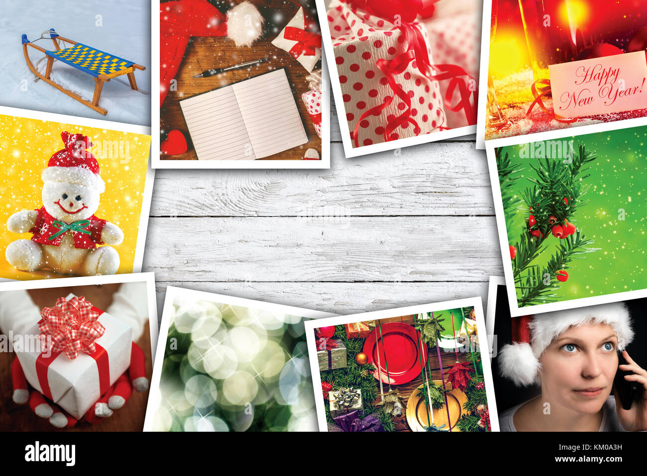 christmas and new year holidays collage with copy space stock image