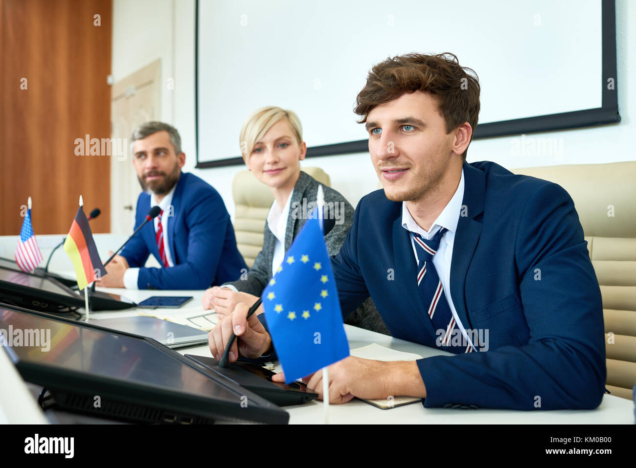 Productive Discussion of Political Forum Members - Stock Image